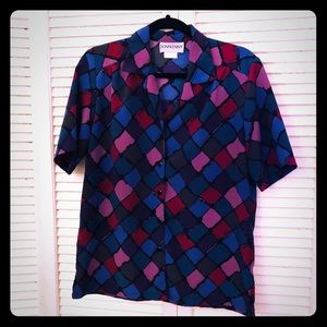 👒NEW👒EUC VTG multi-color checkered retro blouse
